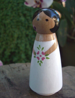 Hand Painted Cake Toppers : Bride with Brown Eyes Black Hair