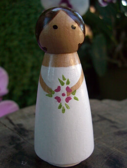 Hand Painted Wedding Cake Toppers : Bride with Brown Hair