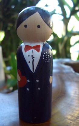 Hand Painted Cake Toppers : Groom Black Hair, Dark Blue Tux, Red Bow Tie, Heart-in-Hand
