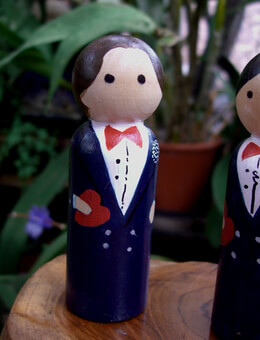 Groom Wedding Cake Topper Brown Hair with Heart