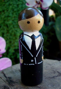Wood GroomWedding Cake Topper Brown Hair Black Tie