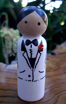 Hand Painted Wedding Cake Toppers : Groom with White Tuxedo Black Hair