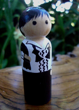 Hand Painted Wedding Cake Toppers: Groom with Black Hair & Bow Tie