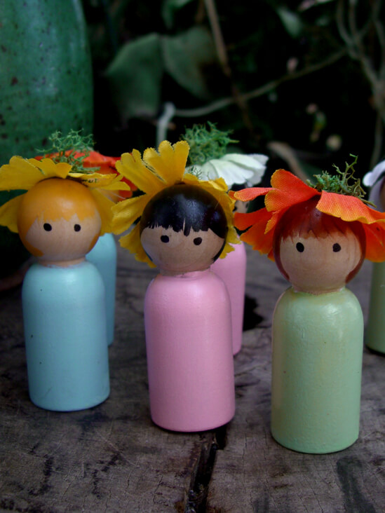 Hand Painted Cupcake Toppers Set of Three Flower Girls