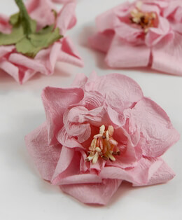 Handmade Parchment Paper Roses Pink 2.5in  (10 roses)