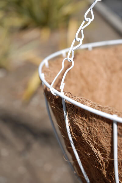 White Metal Hanging Wire Basket with Coco Liner