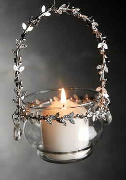 Glass Hanging Candle Holder Silver Leaves