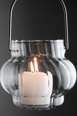 4 Miniature Hanging Glass Lanterns