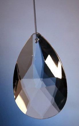 "Hanging Crystals 2-1/2"" Almond Cut Glass Crystal"