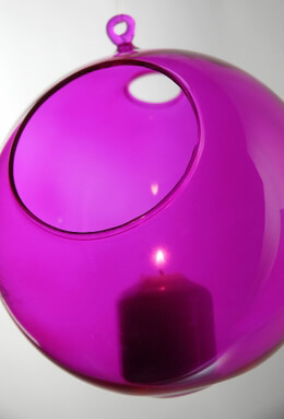 Hanging Glass Orb Fuchsia Pink 8""