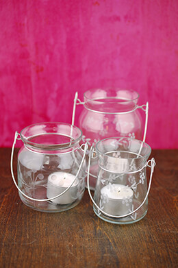 Set of 3 Hanging Glass Vases & Candle Holders