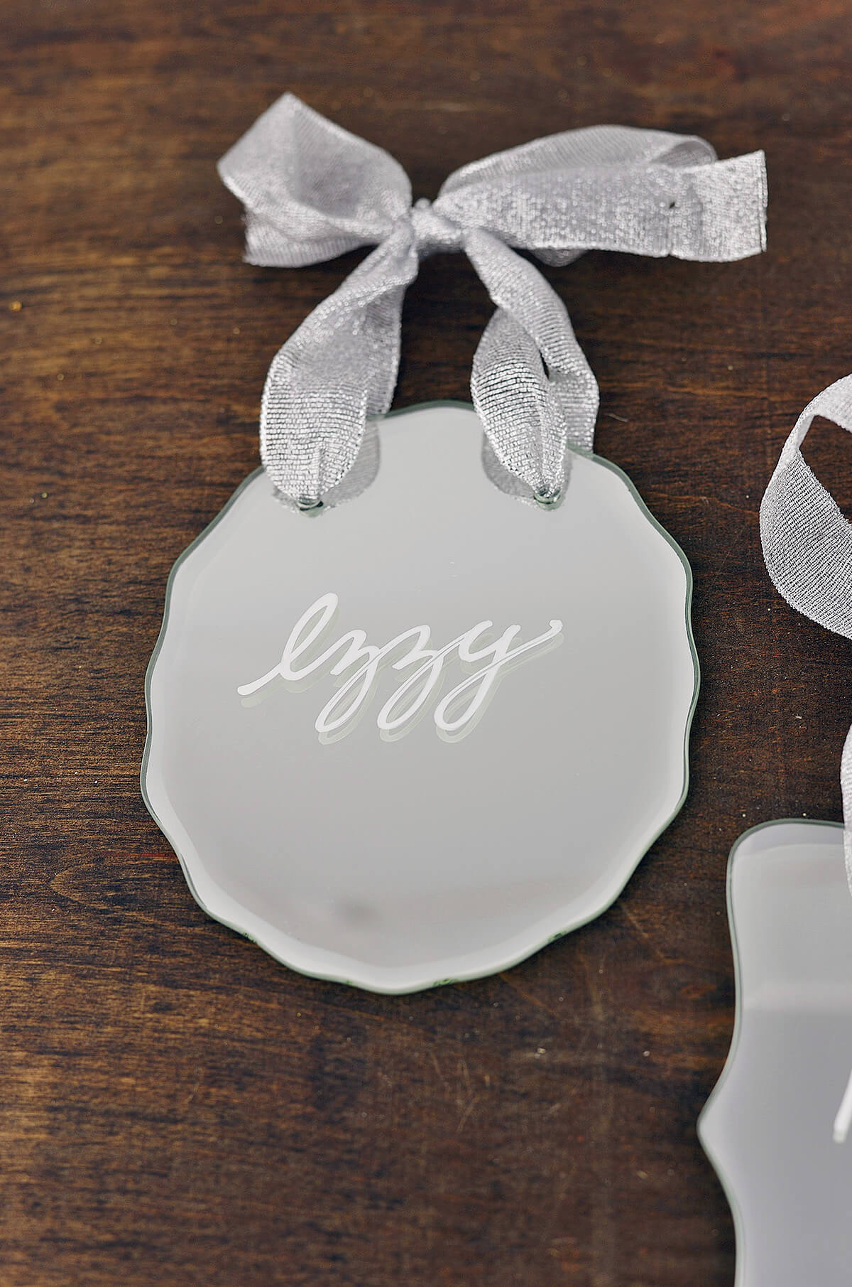 6 Scalloped Oval 4x5in  Hanging Mirror Tags with Ribbon Hanger