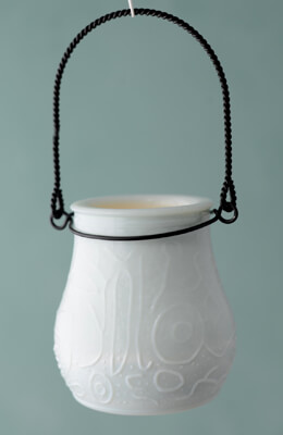 Heirloom Milk Glass Hanging Votive Holder  3.5in