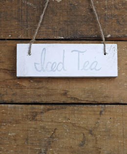 Hanging Wood Sign Iced Tea