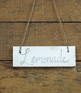 Hanging Wood Sign Lemonade