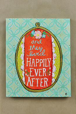 Happily Ever After Canvas & Wood Sign 12x10
