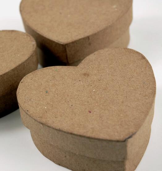 """Heart Boxes Paper Mache 3.5"""" ( 3 boxes/pkg)"""