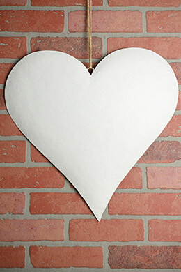 Large 18in.  White Glitter Puffy Metal Heart Decorations