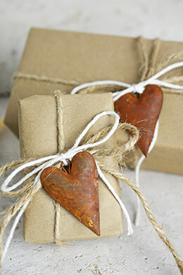 12 Rustic Tin Rusty Puffy Heart 2in.