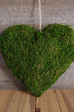 "Natural Preserved Moss Covered 10"" Heart"
