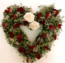 Eucalyptus & Rose Wreath Heart 17in
