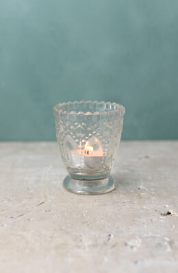 6 Clear Glass Hobnail Votive Candle Holders