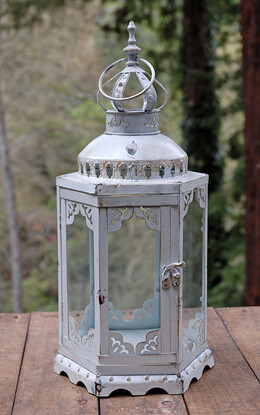 Hexagonal Lantern Antique White 17.5in