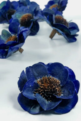 18 Handmade Thistle & Palm Flowers Blue Roses