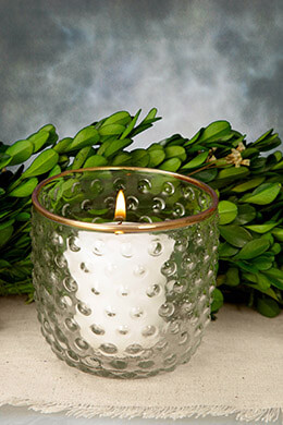 Hobnail Candle Holder Glass 3.25 x 2.75in