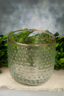 Hobnail Candle Holder Glass 4.25 x 3.75in