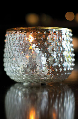 Mady Glass Hobnail Candle Holder  4""