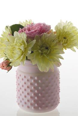 "Lilac Hobnail Mason Jar 4""x 5"""