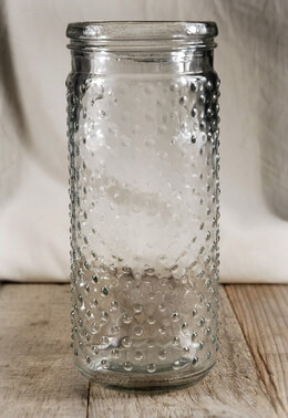 Hobnail Mason Jar Vases & Candle Holder 9-1/4in