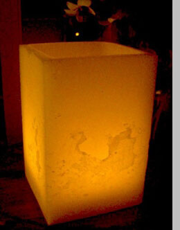 Wax Luminary Ivory Square 5.5in