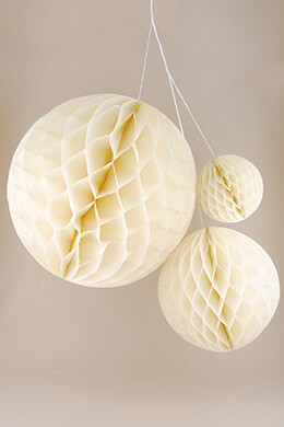 "3 Ivory Honeycomb Party Decoration Tissue Balls 5"", 9"", & 13.5"""