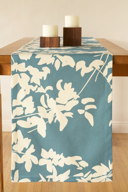 "AMENITY Hemp & Organic Cotton 90"" Fern Table Runners Cream & Peacock"