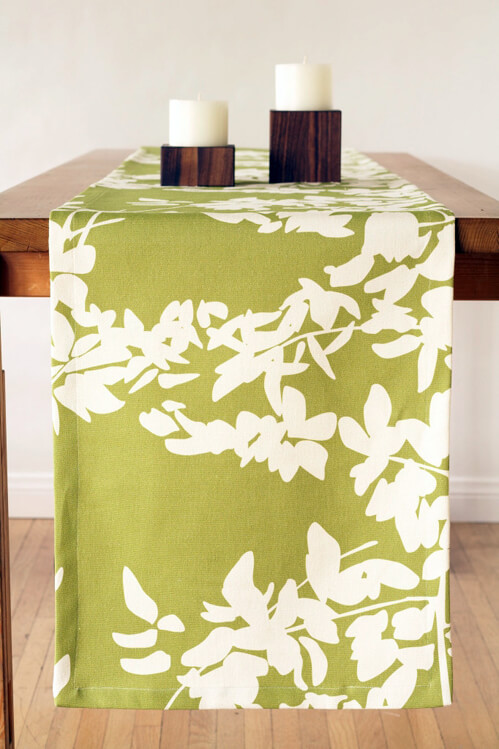 <font color=&quot;red&quot;><b>HOT BUY!</b></font> Amenity Table Linen Sale: 90&quot; Fern Table Runner - Cream and Celery