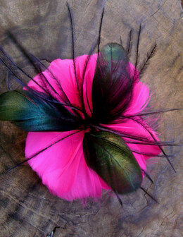 "Hot Pink & Black 4.5"" Feather Flowers"