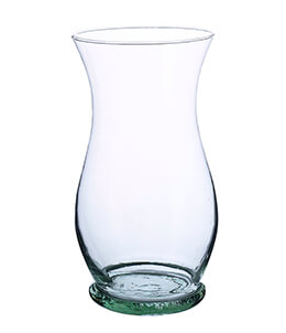 Hurricane Vase Recycled Glass 10.5in