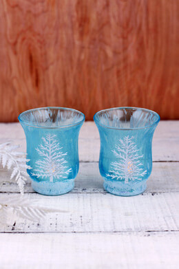 2 Holiday Battery Operated Hurricane Votive Holders