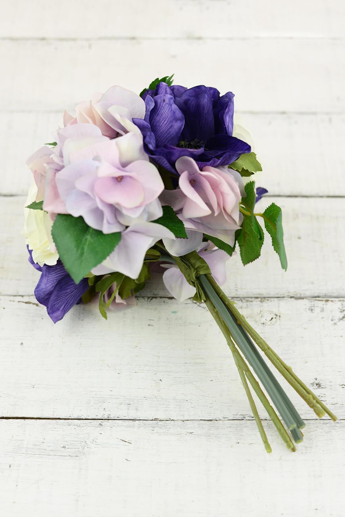 Pink & Purple Silk Hydrangea Ranunculus, Anemone  Bouquet