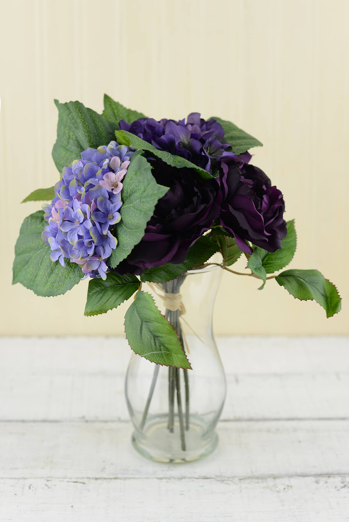 Purple Silk Hydrangea & Rose Flower Bouquet