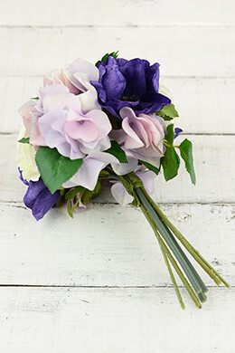 Hydrangea Bouquet Purple 10in