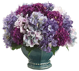 Hydrangea Mix in Pedestal Bowl