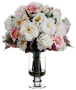 Hydrangea, Peony and Poppy Bouquet in Vase