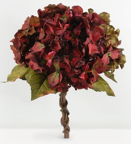 Hydrangeas Bouquet Artificial Burgundy Flowers