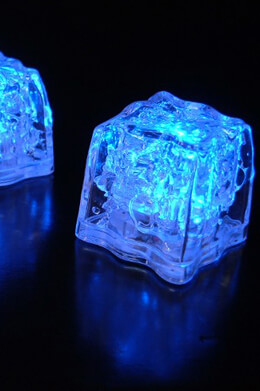 8 Blue Submerisibe LED Ice Cubes  Premium 1.5""