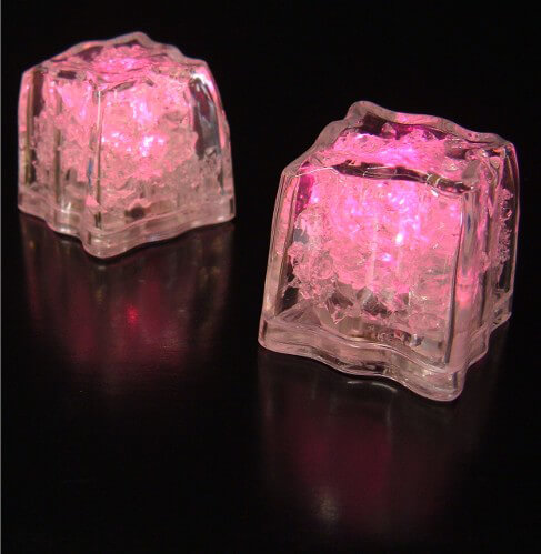 8 Pink Premium LED Submersible Ice Cubes