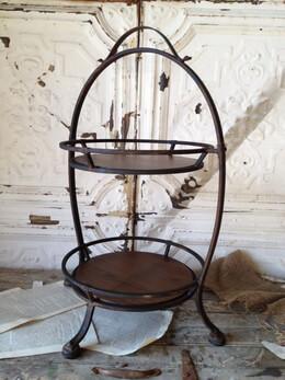 Iron and Wood Two Tier Tray Stand