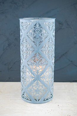French Blue Glass & Iron Candle Holder 12in